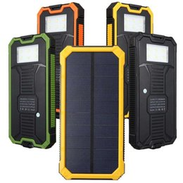 Wholesale external power banks - 20000mah Solar Power Bank Solar Charger Waterproof External Battery Dual USB Camping Powerbank Portable Battery Charger with LED Light