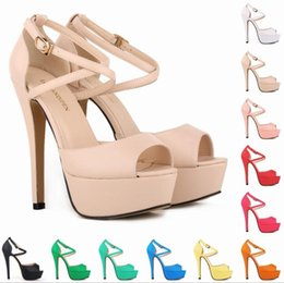 zapatos de color desnudo de punta abierta Rebajas Color nude mate Sapato Feminino Grils Party Zapatos de tacón alto de la boda nupcial Zapatos de punta abierta Sandalias de correa de tobillo A145