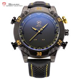 2019 желтые спортивные часы привели Kitefin акула спортивные часы черный желтый циферблат LED аналоговый цифровой сигнализации несколько часовой пояс кожаный ремешок мужчины армия наручные часы / SH231 скидка желтые спортивные часы привели