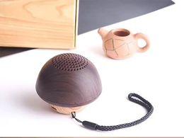 Wholesale Mini Wireless Mushroom Speakers - innovative wooden mushroom shaped mini wireless speaker portable stereo bluetooth 4.1 hifi subwoofer TF music loudspeaker with build-in mic