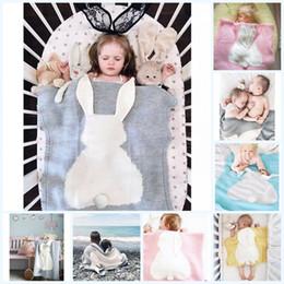 Manta de bebé hecha a mano online-Manta de bebé de dibujos animados Bunny Manta de punto para la cama Sofá de recién nacidos Manta de Swaddle Manta Conejo Hecho a mano de lana Toallas de baño