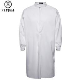 7cbbd85e12 2018 Autumn New Brand Men s Shirt Arab Style Fashion Simple Long Men s  Casual Shirt White Muslim Robe Thobe Dress M-XXL