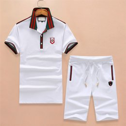Wholesale knee breeches - Men's Tracksuits Short-Sleeves&Shorts Polo T-shirts breeches embroidery designer Luxury Brand Tees Short Pant Summer Suits Slim