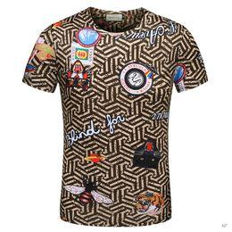 Wholesale Tiger Print Tops Women - 2018 Summer luxury europe Cotton tshirt fashion designer Tiger head pattern printing letters print Men Brand casual t-shirt tee top