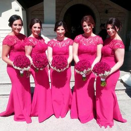 Wholesale short sleeve ruffle top - Fuchsia Bridesmaid Dresses 2018 Boat Neck Short Sleeves Lace Top Illusion Mermaid Sweep Train Plus Size Maid of Honor Wedding Guest Gowns