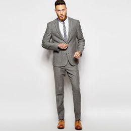 2019 tweed traje Personalizado cinza homens ternos outono inverno ternos de  tweed para o negócio terno 69707b8af0a