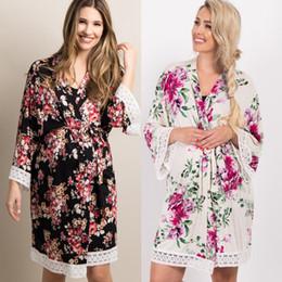 Беременный сон онлайн-Pregnant Women Long Sleeves Bandage Robes Autumn Floral Maternity Sleepwear Sleep Dress