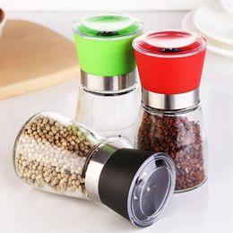 Wholesale Salt Mills - 2017 Stainless Steel Pepper Mill Grinder Round Bottle Portable Kitchen Mill Muller Home Kitchen Tool Spice Sauce Grinder