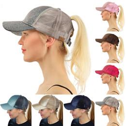 Wholesale sequin linens - Fashion Lady Sequins Ball Hat Multi Color CC Glitter Ponytail Snapbacks Visor Hats Mesh Baseball Cap New Arrive