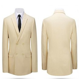 Wholesale Made Order Suit - suit jacket Beige double-breasted jacket lapel men's suit made-to-order wedding the groom dress men's jackets