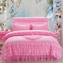 Wholesale Princess Wedding Duvet - 4 6Pcs Pink princess Bedding set king queen size girls lace wedding bed cover set duvet cover bed skirt pillowshams gift
