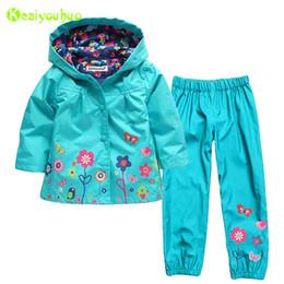 Wholesale Boy Raincoats - KEAIYOUHUO Children Girls Clothing Sets 2017 Winter Girls Clothes Set Raincoat Jacket+Pants 2pcs Kids Clothes Sport Suit