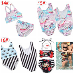 Wholesale girls childrens swimwear - ins Unicorn Girls Floral Swimwear Infant Halter Rompers Swimsuit Childrens Clothing Fashion Two-Pieces Bikinis Beach Bathing Suit Onesies