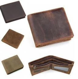 Wholesale leather bifold money clip wallet - wholesale New Design Men Genuine Leather Retro Short Bifold Wallet Cowhide Coin Purse Card Holder Money Clips