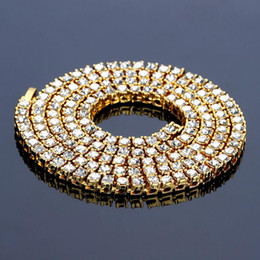 Wholesale Gold Chain 5mm - 2018 new 5mm Women Gold Black Silver 1 Row Clear CZ Iced Out Rhinestone 30 Inch 20 Inch 24 Inch Chain Necklace Hip Hop Fashion Jewelry