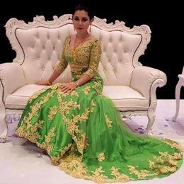 drei viertel ärmel abendkleider Rabatt Luxus Kaftan Marocaine Perlen Dubai Kaftan Green Prom Kleider Three Quarter Sleeve Abendkleider Saudi Arabian Formal Party Kleider