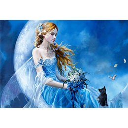 moon paintings Promo Codes - 5D Diy Diamond Painting Cross Stitch Moon Black Cat Beauty 3D Photo Full Square Diamond Embroidery Needle Rhinestone Mosaic Gift Decoration
