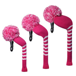 Wholesale Left Handed Drivers - Rose Color Ladies' Knit Golf Headcover set of 3 for Driver(460cc), Fairway and Hybrid, Handmade Craftmanship, Golf Gift