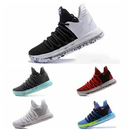 Wholesale Kevin Durant Low Tops - High Quality Basketball shoes Kevin Durant 10 All Star Black White BHM University Red City Series Top quality KD 10 men basketball shoes