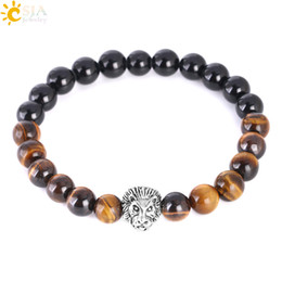 lion bracelets Promo Codes - CSJA Natural Stone Tiger Eye Obsidian Bracelets Leopard Lion Wrist Strand 8mm 10mm Black Polished Beaded Bracelet Men Energy Jewelry F310