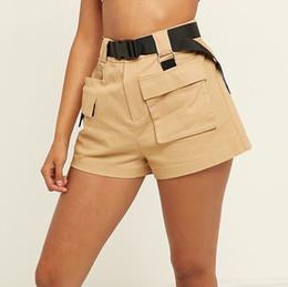 2019 carga mulheres calças estilo Chique Streetwear Shorts da carga da cintura alta das mulheres com Belt.Safari estilo Ladies Multi-bolso calças curtas frete grátis carga mulheres calças estilo barato