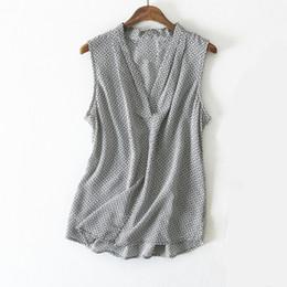 64543c169 Blusa de seda del verano de las mujeres con cuello en V sin mangas desgaste  de la oficina blusas de seda naturales elegantes casuales impresión  geométrica ...