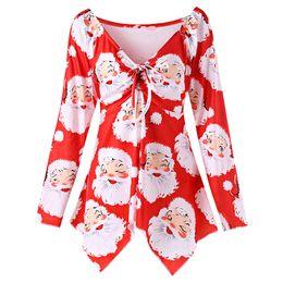 Wholesale Plus Size Christmas Shirts - ZAFUL 5XL Plus Size Santa Claus Print Christmas Shirts V Neck Long SLeeves Lace Up Women Blouse Autumn Casual Feminino Blusas