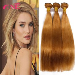 Wholesale Bleached Brazilian Weave - 100% 8A Virgin Hair Good Quality Straight Bundles 3 pcs Light Brown Weaves Unprocessed Human Hair Extensions 27# Human Hair