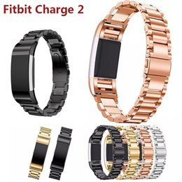 Wholesale Watch Band Beads - 316L metal Three beads Stainless Steel Watch band For Fitbit Charge 2 bracelet Smart Watch strap for Fitbit Charge2