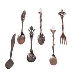 Wholesale Vintage Carving Sets - New 6pcs Set lot Vintage Royal Style Metal Carved Mini Coffee Spoons And Fork Fruit Prikkers Dessert Fork Kitchen Accessories