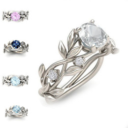 Wholesale Crystal Diamond Rings - New Branch Elven Crystal Diamond Ring Cubic Zirconia Ring Wedding Ring Fashion Jewelry for Women Bride Gift Drop Shipping