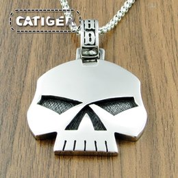 Wholesale day white teeth - Free Shipping! Punk 316L Stainless Steel Silver White Black color HD Skull Tooth Head Biker Pendant (Include the Link Chain For Free )