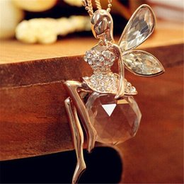 Wholesale Crystal Birthday Angels - Fashion Women Jewelry Crystal Angel Wings Gold Color Long Chain Necklace Ahiny Butterfly Fairy Necklace for Girls Birthday Gift