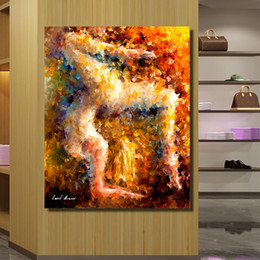 Wholesale Oil Painting Frame Knife - Frameless Wall Art Palette Knife Dancer Abstract Oil Painting On Canvas Picture Wall Paintings for Living Room Home Decor No Framed