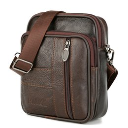 Vintage Bag for Men Cowhide Leather Messenger Mini Bag Mobile Phone Cross  Body Genuine Leather Belt Waist Flap Pack 17f2a7eae14b2