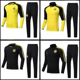 Wholesale Sport Football Kits - best 2017 2018 Dortmundes tracksuit Jacket Set Men Kit long sleeve Training suit pants football Borussia Aubameyang Reus clothes sports wear