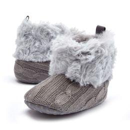 Wholesale Crochet Snow Boots - Super Warm Prewalker Boots Toddler Girl Boy Crochet Knit Fleece Booties Wool Winter Snow Crib Shoes 0-18M