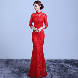 traditional chinese dressing gown Promo Codes - Red Lace Long Cheongsam  Chinese Traditional Dress Women Modern 3f33cc1c8