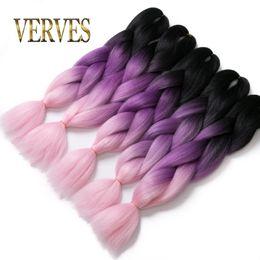 Argentina Black purple pink raiding Hair ombre Dos tonos de alta temperatura Fibra de expresión trenzado de cabello 100 g / pcs trenzado sintético Extensiones de cabello supplier hair extensions black pink Suministro