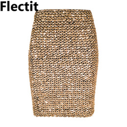 Wholesale Ladies Yellow Mini Skirts - Flectit Womens Skirts Gold Sequined Mini Skirt Bodycon Pencil Skirt Short Wrap for Office Lady Party Girl Saia