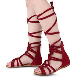 2019 stivali piatti grandi dimensioni 2017 nuovi sandali delle donne della fasciatura inizializzano le scarpe estive piane i sandali alti del gladiatore del Gladiatore di grandi dimensioni del ginocchio più il formato 35-41 stivali piatti grandi dimensioni economici