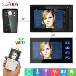 Kits de campainha com fio on-line-SmartYIBA WIFI vídeo porteiro com 7inch Monitor de Vídeo 1000TVL campainha Intercom Kit Wired / Wireless IR Night Vision interfone