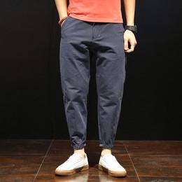 Wholesale blue hong kong - Men's casual jeans Korean Hong Kong wild nine points harem pants loose feet pants 2018 new blue