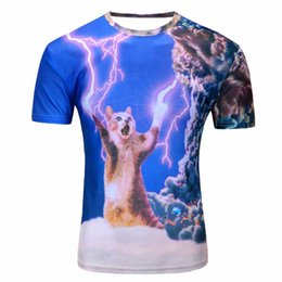 Wholesale space tee cat - 2018 new galaxy space 3D t shirt lovely kitten cat eat pizza funny tops tee short sleeve summer shirts for men dropship