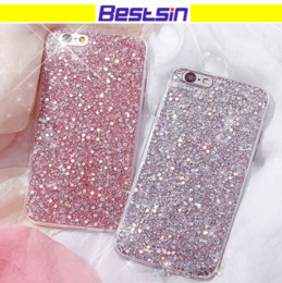 Wholesale glossy rubber - Bling Glitter Rubber Soft TPU Glossy Clear Frame Phone Case for Iphone 8 Samsung S7 Free DHL Shipping