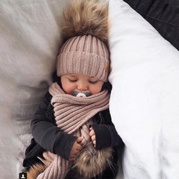 Wholesale Faux Fur Cashmere Scarf - New Winter Baby Girls Boy Faux Raccoon Knitted Hat +Scarf Set With Fur Pompom Ball Caps Baby Children Hats Kids Warm Beanie Suits