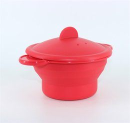 Wholesale Fold Cooking - Silicone Folding Bowl Heat Resisting Microwave Oven Steamer Multi Function Dinnerware Bakeware Home Kitchen Cook Tool Red 3 3yb C
