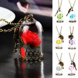Wholesale Glass Tale - Women Vintage Romantic Necklace Enchanted Rose Flower in Glass Bottle Terrarium Pendant Valentines Day Fairy Tale Victorian Jewelry Necklace