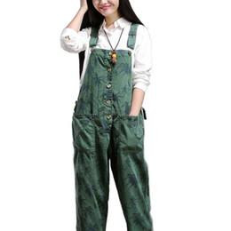 Mais tamanho malha de hip hop on-line-Mulheres Elegantes Calças Camuflagem Solta Baggy Hip Hop Macacões Feminino Casual Bib Harem Pants Lazer Macacão Plus Size macacão