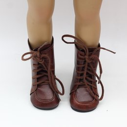 "Wholesale Popular Girl Clothing - Fashion Boots For 18"" American girl Doll Clothes Vintage Brown Boots Popular Dolls Accessories free shipping"
